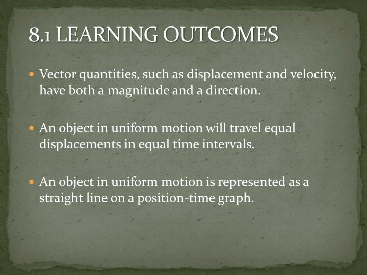8.1 LEARNING OUTCOMES