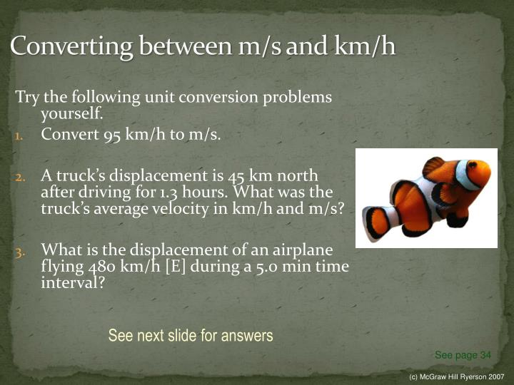 Converting between m/s and km/h