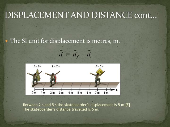 DISPLACEMENT AND DISTANCE cont…