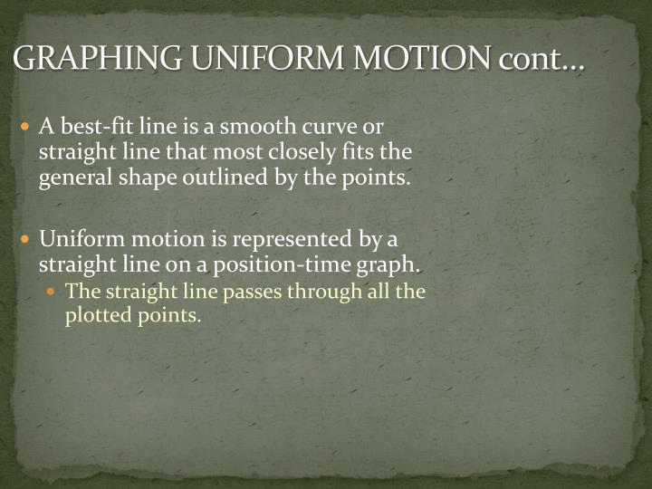 GRAPHING UNIFORM MOTION cont…