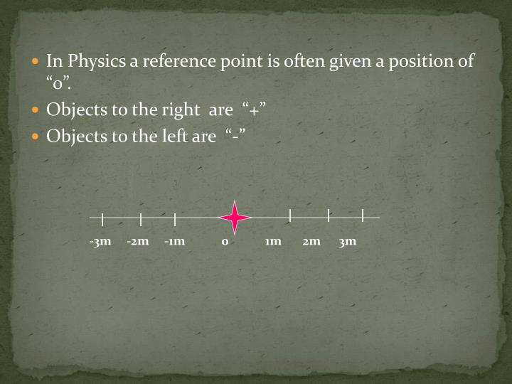"In Physics a reference point is often given a position of ""0""."
