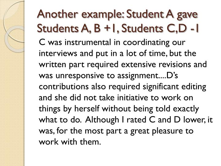 Another example: Student A gave Students A, B +1, Students C,D -1