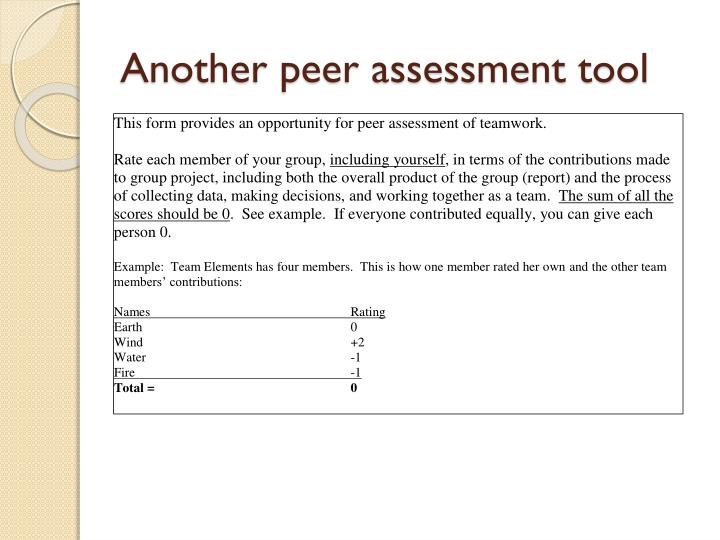 Another peer assessment tool