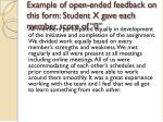 example of open ended feedback on this form student x gave each member score of 0