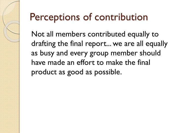 Perceptions of contribution