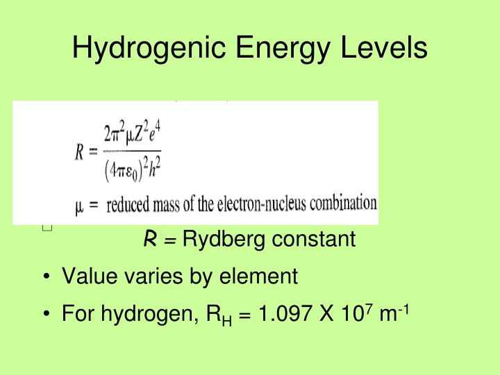 Hydrogenic Energy Levels