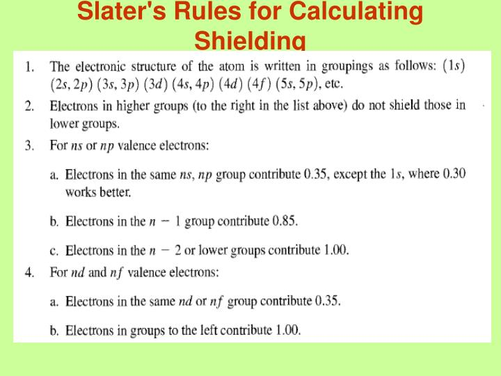 Slater's Rules for Calculating Shielding