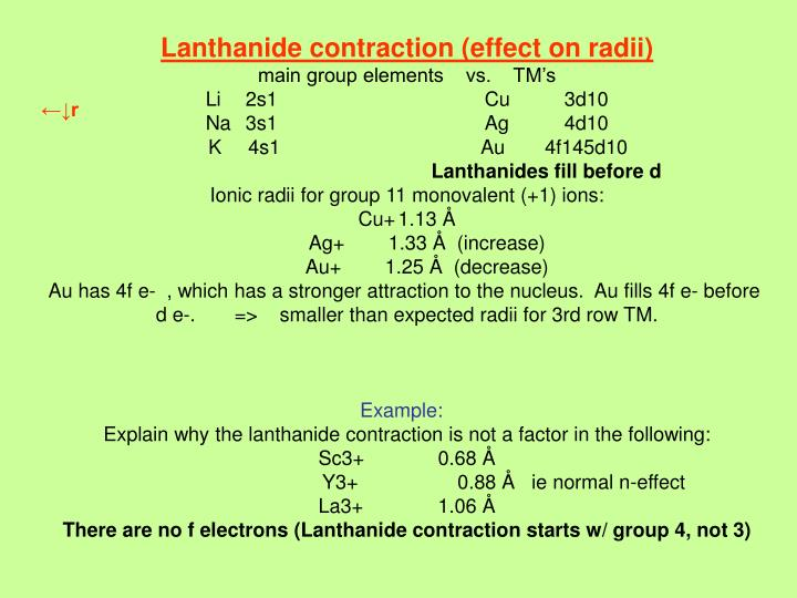 Lanthanide contraction (effect on radii)