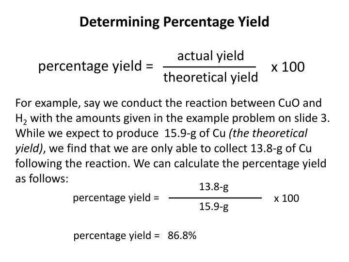 Determining Percentage Yield
