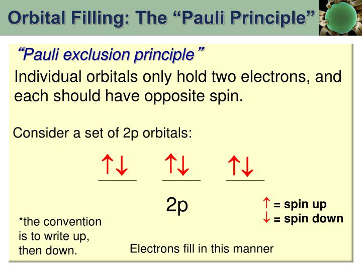 "Orbital Filling: The ""Pauli Principle"