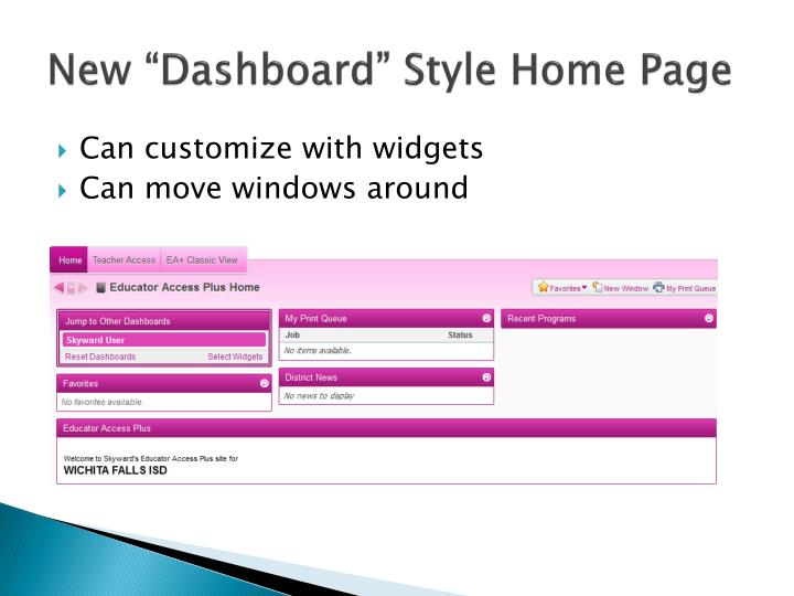 New dashboard style home page