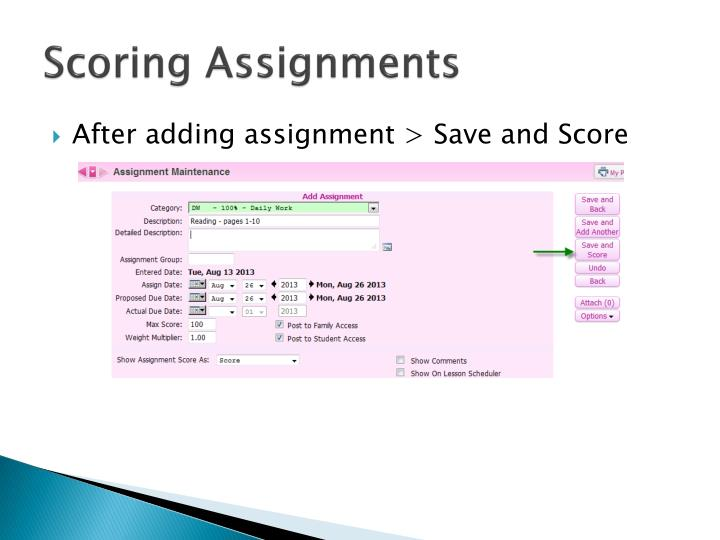 Scoring Assignments