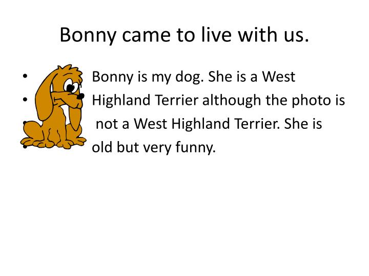 Bonny came to live with us.