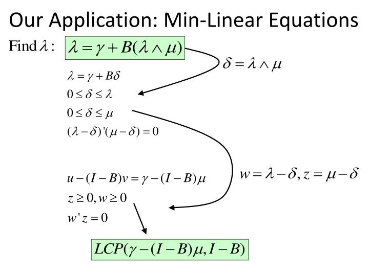 Our Application: Min-Linear Equations