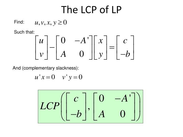 The LCP of LP