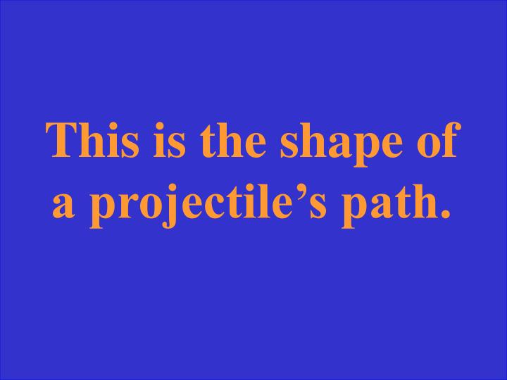 This is the shape of a projectile's path.