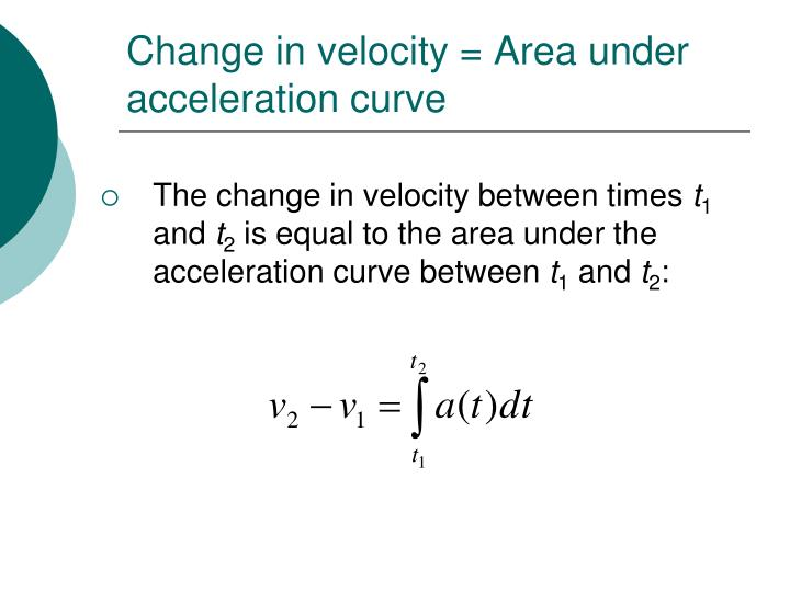 Change in velocity = Area under acceleration curve