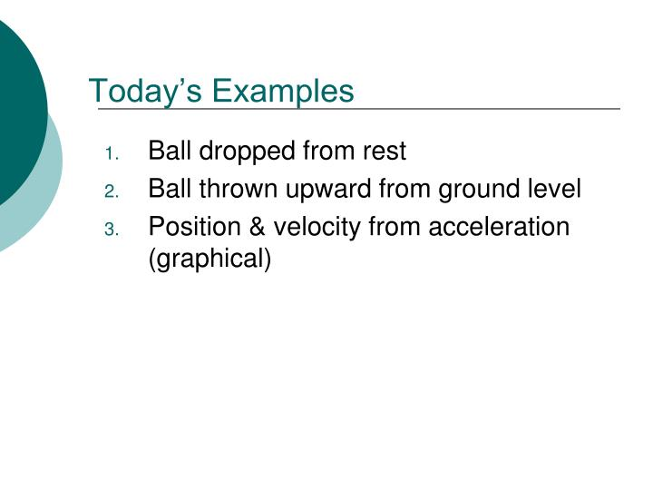 Today's Examples