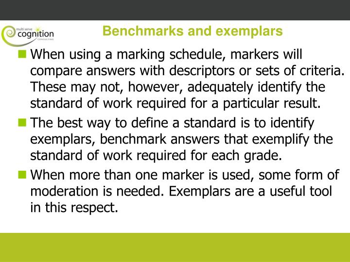 Benchmarks and exemplars