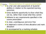 characteristics of a good examination