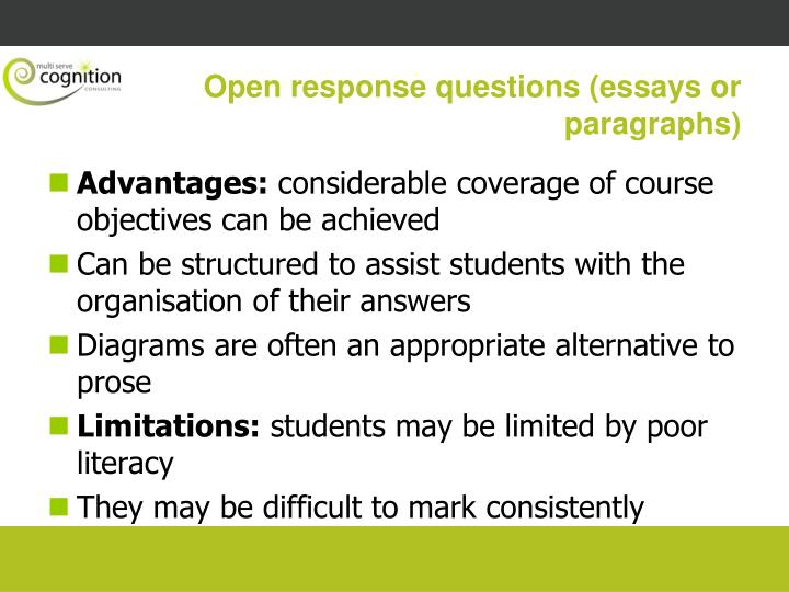 Open response questions (essays or paragraphs)
