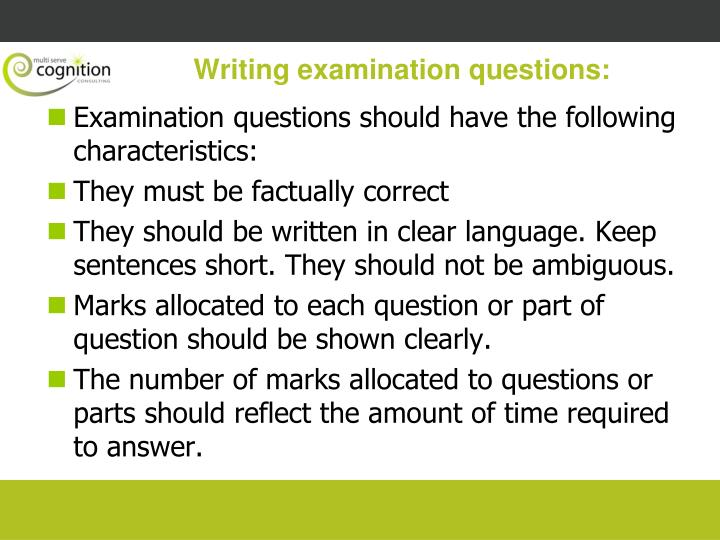 Writing examination questions:
