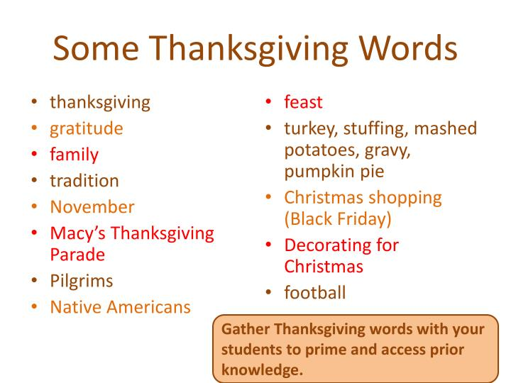 Some Thanksgiving Words