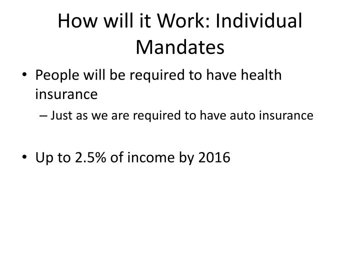 How will it Work: Individual Mandates