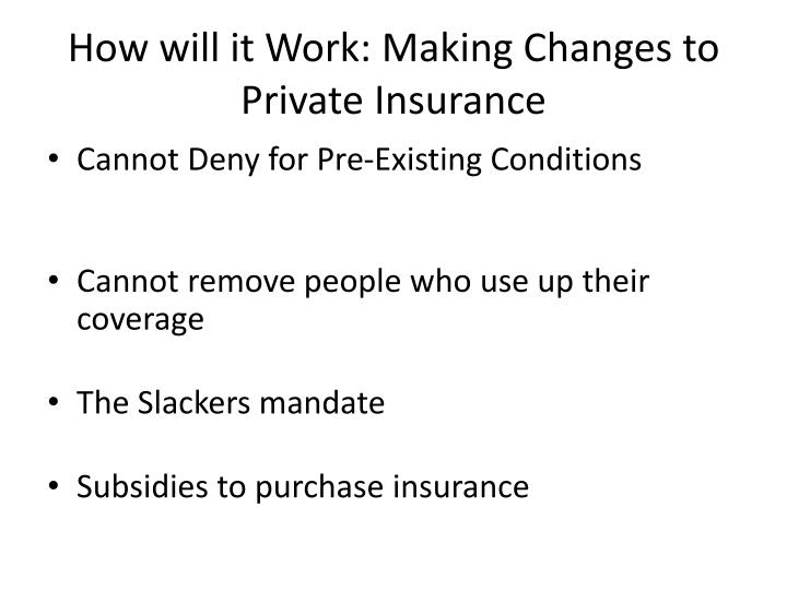How will it Work: Making Changes to Private Insurance