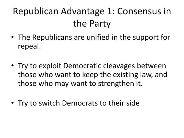 Republican Advantage 1: Consensus in the Party