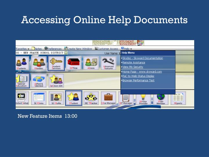 Accessing Online Help Documents