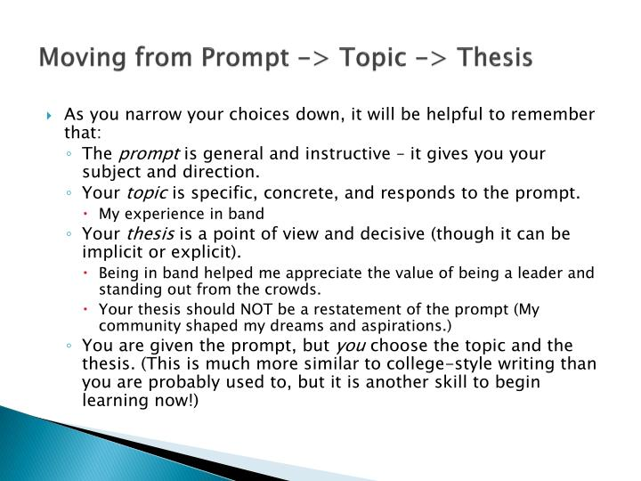 Moving from Prompt -> Topic -> Thesis