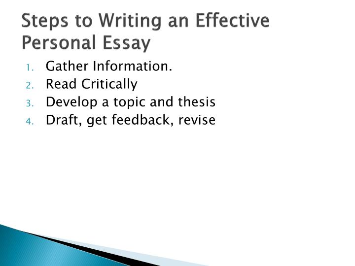 Steps to Writing an Effective Personal Essay