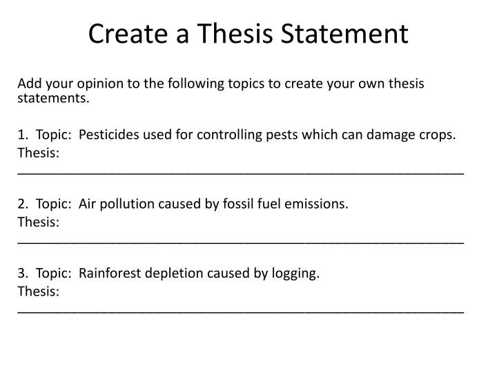 starting a thesis statement Now that you have decided, at least tentatively, what information you plan to present in your essay, you are ready to write your thesis statement.