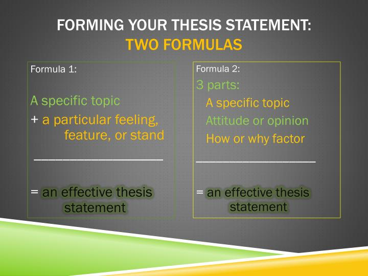Forming your thesis statement: