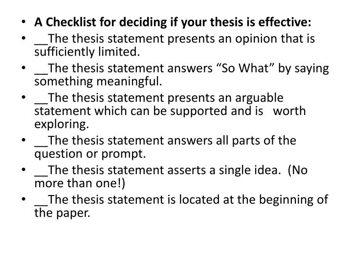 A Checklist for deciding if your thesis is effective: