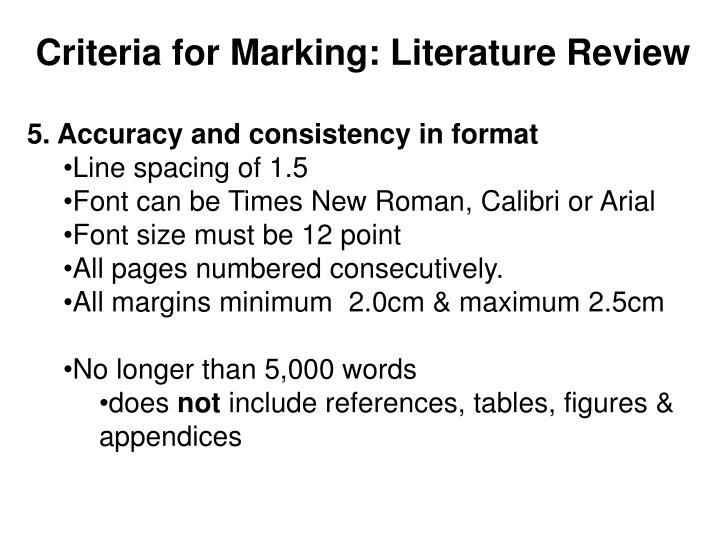 Criteria for Marking: Literature Review
