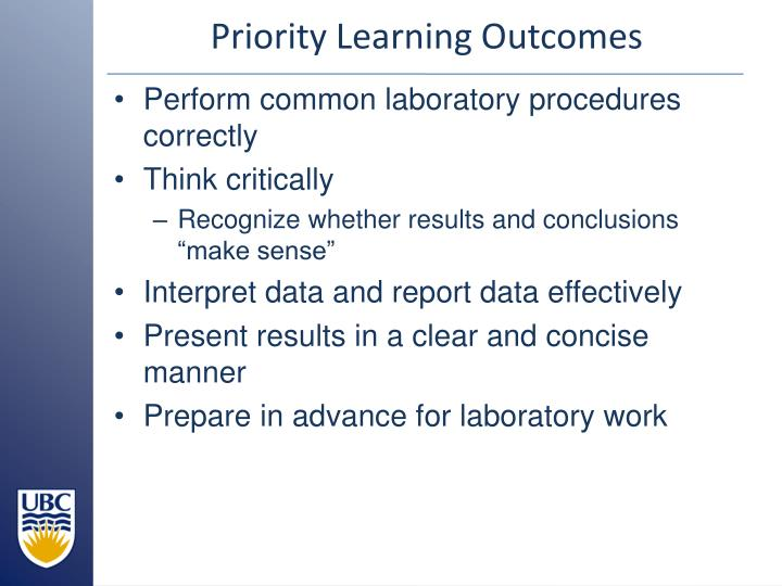 Priority Learning Outcomes