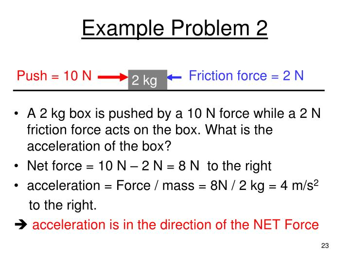 Friction force = 2 N
