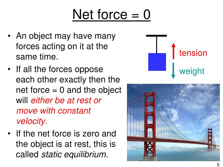 Net force = 0