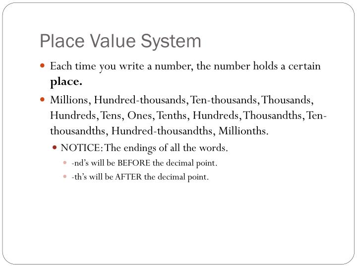Place value system