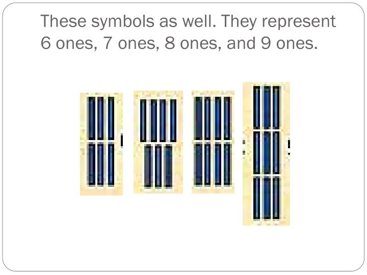 These symbols as well. They represent  6 ones, 7 ones, 8 ones, and 9 ones.