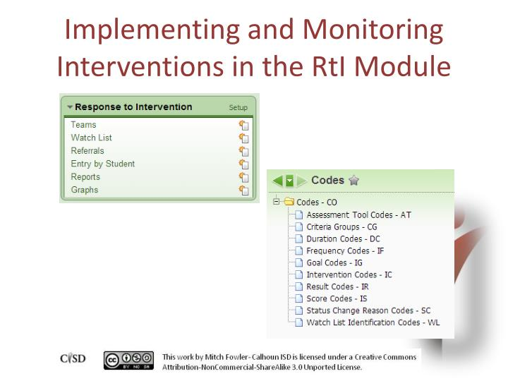 Implementing and Monitoring Interventions in the