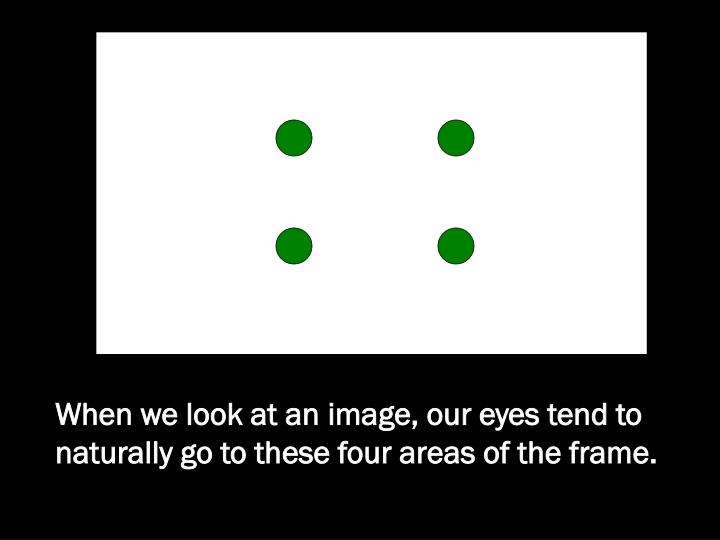When we look at an image, our eyes tend to naturally go to these four areas of the frame.