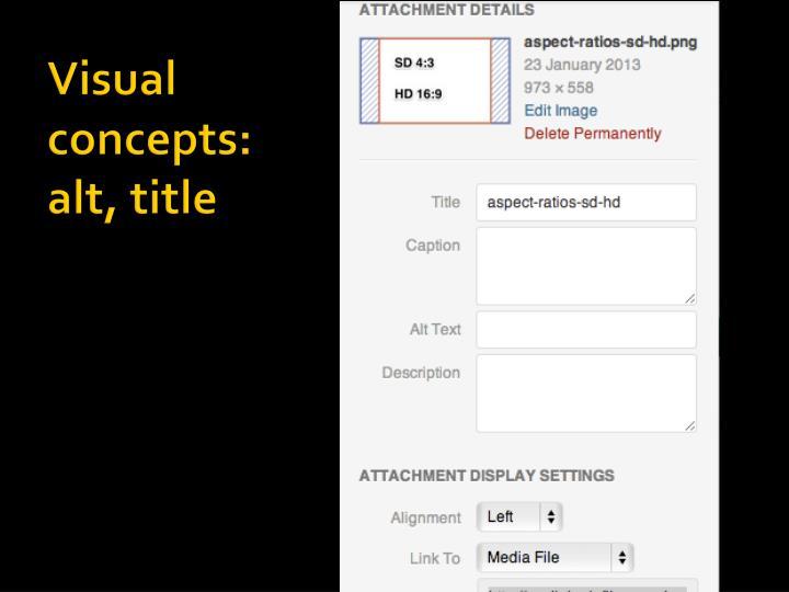 Visual concepts: alt, title