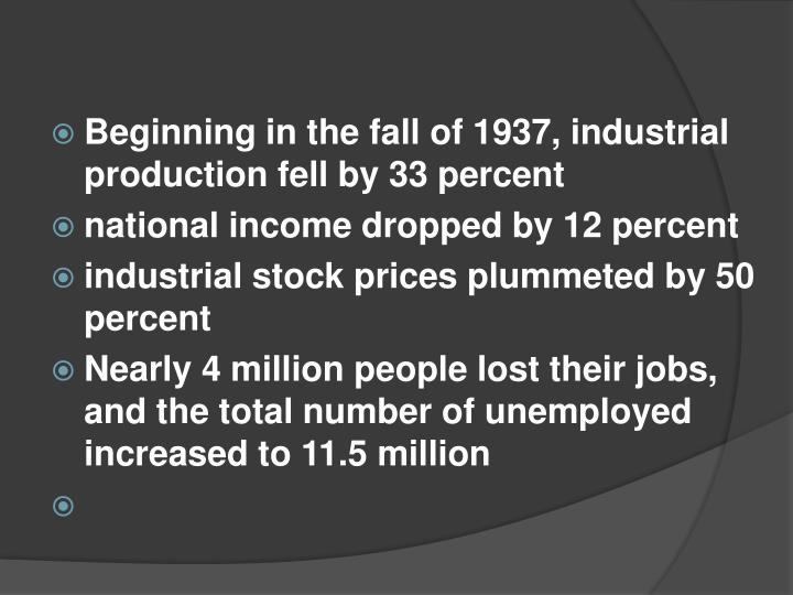 Beginning in the fall of 1937, industrial production fell by 33 percent