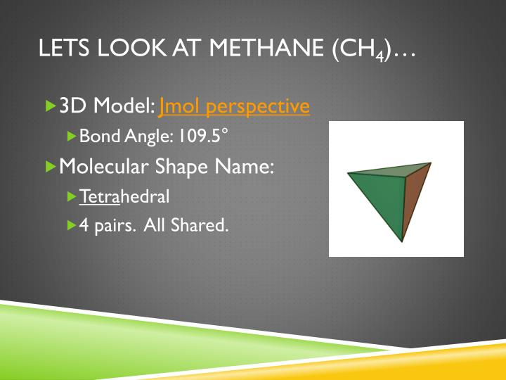 Lets look at Methane (CH