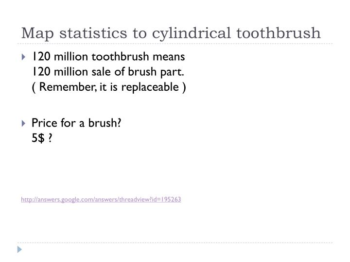 Map statistics to cylindrical toothbrush