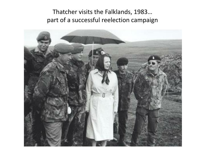 Thatcher visits the Falklands, 1983…