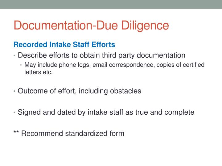 Documentation-Due Diligence